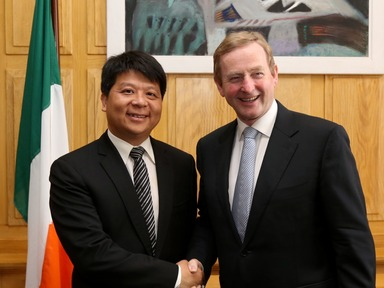 Huawei CEO Guo Ping with Taoiseach Enda Kenny, TD