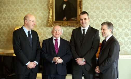 President Higgins Receives Recipients of the President of Ireland Young Researcher Award (PIYRA)